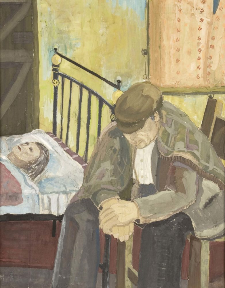Bedside by George McLean, 1940. Oil on Card © Ashington Group Trustees