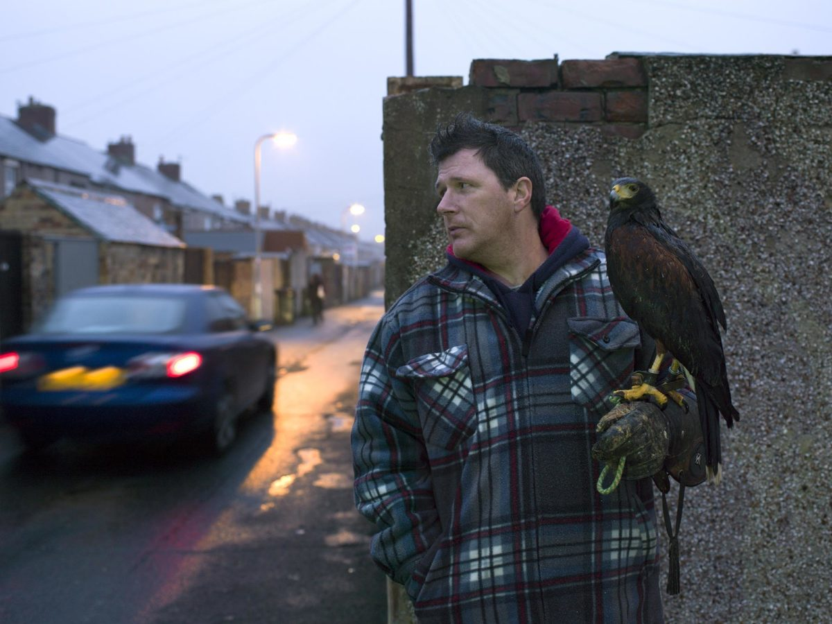 Man with Harris Hawk, Ashington, by Julian Germain, 2015. © Ashington District Star / Julian Germain.