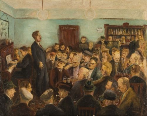 Saturday Night at the Club by Oliver Kilbourn, 1940. Oil on Fibreboard. © Ashington Group Trustees.