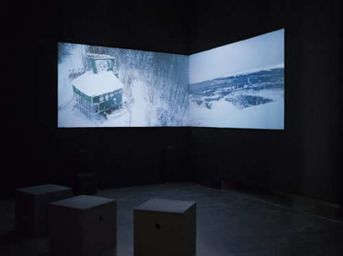Stills from Litte ja Goabddá [Drones y Tambores] Two-channel video installation, 18:18 min looped with immersive sound design. Jåhkåmåhkke [Jokkmokk], Norrbotten, Swedish Sábme, 2018